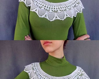 Feminine gift for her Crochet collar Retro party shoulder cover Cotton lace collar Crochet necklace Knit collar Crochet jewelry Bridal shrug