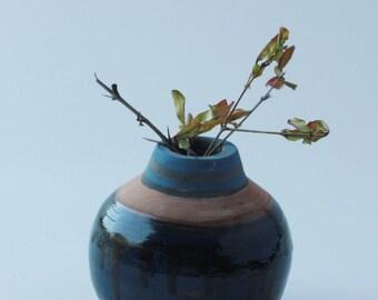 Love gift, Ceramic small blue Vase, Pottery Vases, Pottery Set, handmade, Glaze, Decorative vase with glaze, Ceramic flower vase,Unique,2004