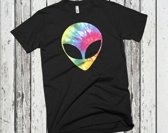 Tie Dye Alien Head Face Funny Humor Hippie T-Shirt