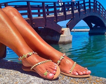 Colorful Gladiator Sandals, Greek Sandals, Summer Shoes, Made In Greece from 100% Genuine Leather by Christina Christi Jewels.