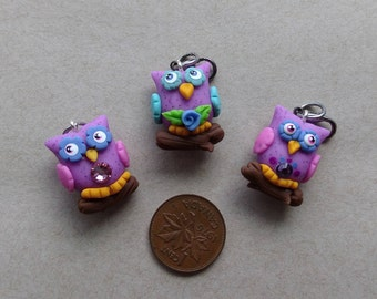 OWL CHARMS, Zipper charm, Charm with lobster clasp, charm, cold porcelain, lobster clasp,