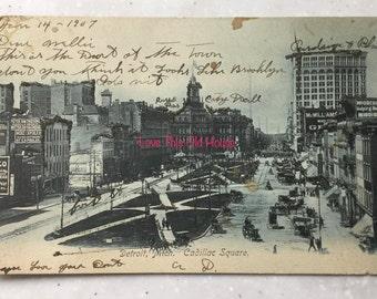 1907 Antique Photo Postcard of Detroit Michigan Cadillac Square