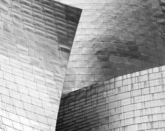 Bilbao Spain, Guggenheim Bilbao, black and white photography, architecture art print, black and white home decor, fine art photography