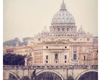 Vatican St Peter's Basilica, Italy photography, Rome Italy skyline, Tiber River, muted tones, the eternal city, fine art photography