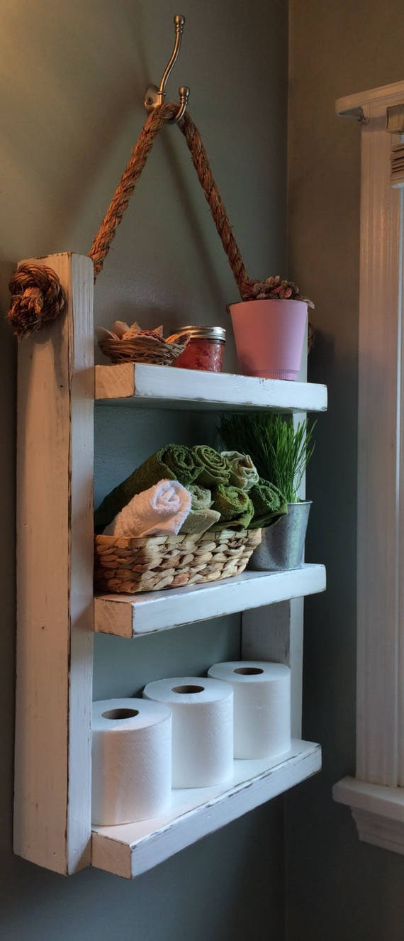 Rope Hanging Shelf, Wooden Ladder Shelf, Storage Shelf, Bathroom Storage,Rustic Shelf, Over The Toilet Storage, Bathroom Towel Rack, White