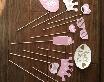 Baby Shower Photobooth Props!! Baby Girl! Lips, Pacifiers, Baby Bottle, Crowns, Sunglasses, Mom to be, OH BABY, It's a Girl!!!
