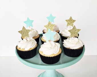 Glitter Star Cupcake Toppers / Twinkle Twinkle Little Star Baby Shower / Gender Neutral First Birthday Decorations / Star Food Picks