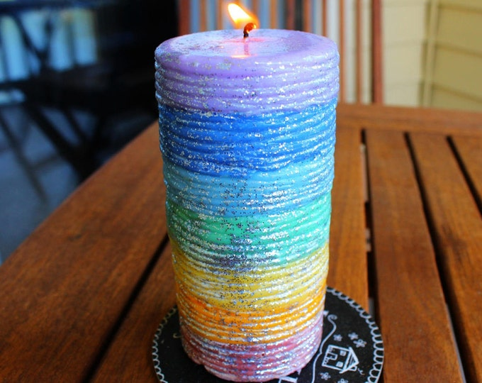 THE LIGHTS BLESSING, Pure Soy Wax Unscented Striped Glitter Pillar Candle for Healing Seven Color Chakras Meditation Prayer