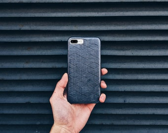 LEATHER iPhone 7 / 7 Plus CASE in Silver Color / Hand carved Geometric leather iPhone 7 Plus cover / Case Hexagon