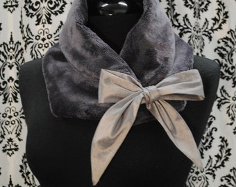 Cowl scarf, scarve, neckwarmer, neck warmer, gift for her, Faux fur scarf, holiday gift, Faux fur Cowl scarf, Faux fur neck warmer, Charcoal