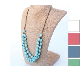 Oval Bead 3-Strand Necklace