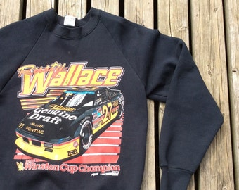 Vintage 1989 / 80's Rusty Wallace Winston Cup Champion Vintage Crew-neck Made in USA Medium