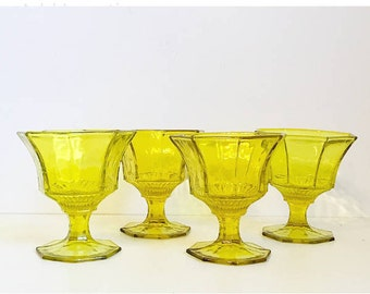 Yellow Green Pedestal Glasses, Wine or Juice Glass, Set of 4