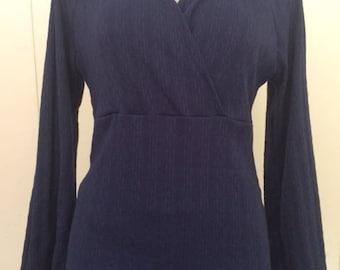 Hooded sweater top/crossed bodice/long bell sleeves