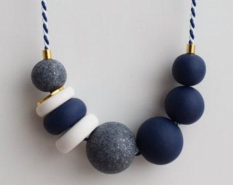 Navy Chunky necklace, Urban necklace, Blue Statement necklace, Beaded jewelry, Geometric necklace, Modern jewelry, Clay Marine necklace