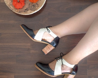 Women Leather cut out shoes, oxford shoes for woman, High heels, elegant shoes,  2,7 inch heels, 1,5 inch heels