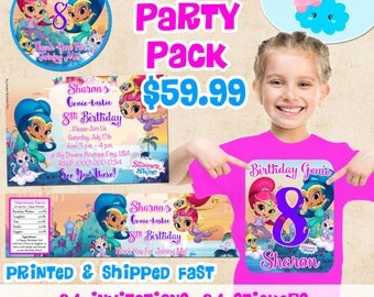 Shimmer and Shine Invitations Birthday Party Set, Shimmer and Shine Birthday Shirt