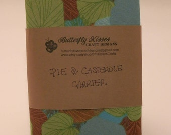 Teal Leaves Pie & Casserole Carrier