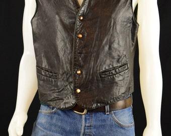 Mens Leather Vest - Vintage Black Leather Vest Hipster Cool Biker Soft  Leather Men's Vest / Size L