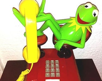 Retro Kermit the Frog Muppets Sesame Street Collectible Telephone