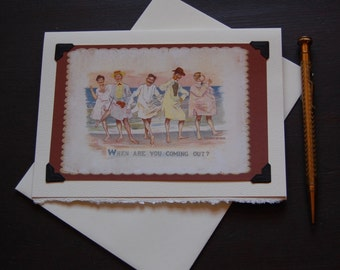 Vintage Gay Card, LGBTQ - Coming Out? - gay bachelor party invitation, gay beach day, ocean trip