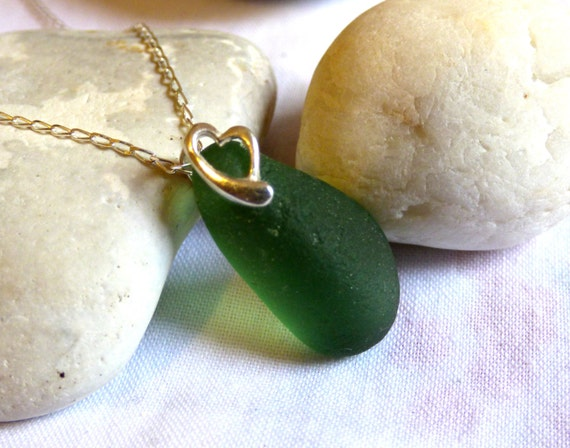 Sea Glass Pendant, Heart Pendant, Green Pendant, Sea Glass Necklace, Heart Necklace, Green Necklace, Beach Glass Pendant, Seaglass - PC16029
