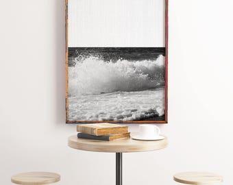 Wave Photograph, Black and White Ocean Print, Ocean Water Photography, Water Picture, Bathroom Art, Modern Coastal Artwork, Sea Wall Decor