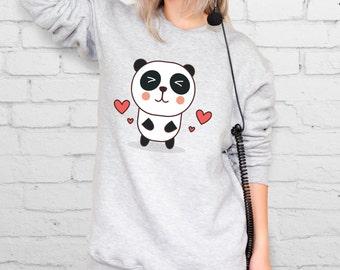 Panda Sweater Women Sweatshirt Valentines Gift For Girlfriend Animal Sweatshirt Cute Sweater Warm Pullover Women Hipster Clothing YPh013