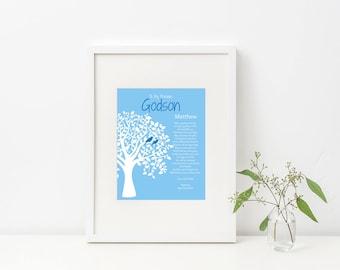 Baptism Print, Baptism Gift, Gift for Godson, Gift for Goddaughter, Gift from Godparent, Personalized, Baptism Poem, Digital Download, Print