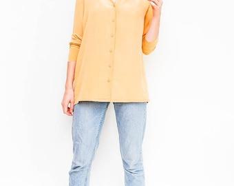 SALE yellow vintage blouse   pale-yellow button down shirt   pastel silk blouse   minimalist top   basics   size medium   size large