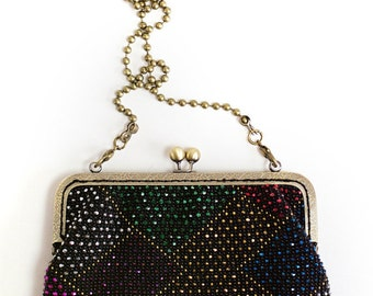 Beaded Wallet and purse / Small purse / Evening purse / Knit purse / Black small purse/ Beaded purse/ Vintage style purse