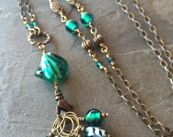 Envy Green Stitch Marker Necklace