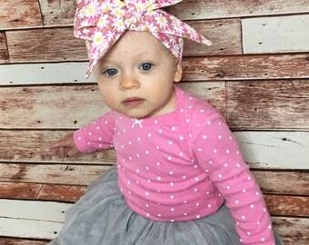 Pink Daisy Headwrap- Headwrap; Daisy Headband; Pink Headwrap; Daisy Bow; Pink Bow; Pink Headband; Mommy and Me Headbands; Toddler Headband