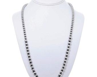 Navajo Desert Pearl Necklace Graduated Silver Bead Strand