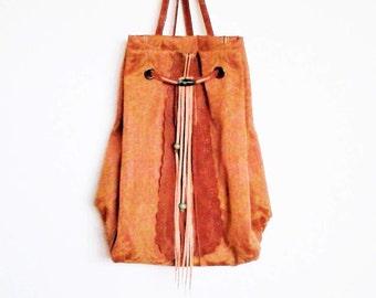 rucksack backpack / bohemian backpack / boho bag / leather rucksack / canvas rucksack / boho backpack / upholstery bag / pink bag