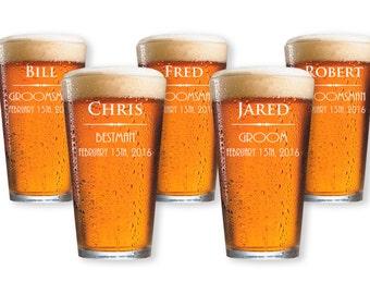 5 Groomsmen Beer Glasses - Wedding Party Favors for Groomsmen - Personalized Groomsmen Gifts for Party - Customized Best Man Glass - GW925