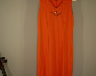 Second hand dress M dress orange applications V neck tea
