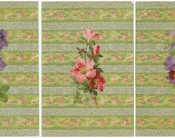 3 large Victorian era chromolithographic floral displays  #C3001A-C
