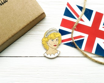 Princess Diana wooden pin Princess of Wales Diana Spencer Lady Di Queen Elizabeth II Britain England Prince Charles Queen of hearts UK