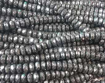 """8mm faceted Hematite Rondelle Beads 15.5"""" Strand"""
