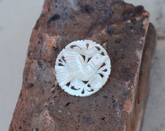 Vintage Hand Carved Mother of Pearl Dove Brooch/Pin
