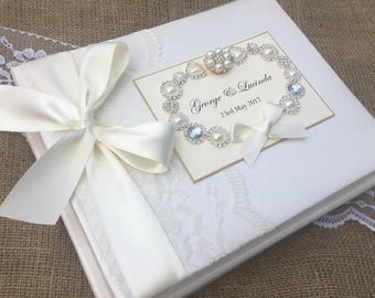 Luxury Personalised Wedding Photo Album Ivory Vintage Lace Jewelled
