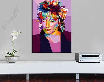 Tribute to Rod Steward - FRAMED ART, personalized gift for music lovers and Musicians,  pop art,  gift for women, gift for men Wall Art
