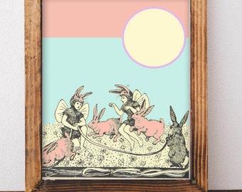 Bunny Art Print, Boho Art, Bunny Nursery, Rabbit Nursery, Vintage Decor, Bunny Kid Art, Girl Nursery Decor, Girl Bedroom Decor