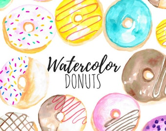 Watercolor Clip Art - Donut Clip Art - Food Clip Art Dessert Clip Art  Hand drawn for scrapbook and Commercial Use