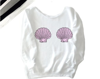 mermaid sweatshirt, mermaid seashell, seashell top, seashell sweatshirt, mermaid seashell top, little mermaid shell,  seashells sweatshirt