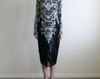 sequence & pearl embroidered evening dress