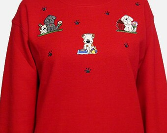 Dog Unique Custom Women's Cute Fun Glitter Cool Embroidery  Bling Fleece Sweatshirt  T shirt Cindy's Handmade Shirts Boutique