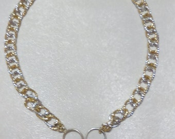-Tone chain necklace with Pearl Teardrop