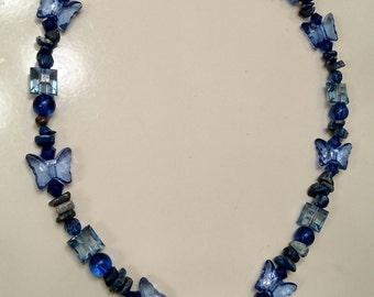 Blue glass heart and butterfly necklace